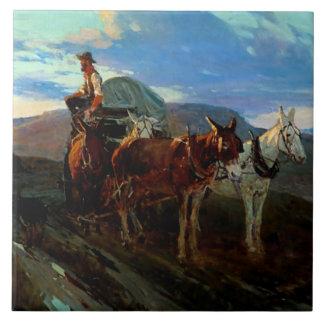 "Frank T Johnson Western Art ""California Or Oregon"" Tile"
