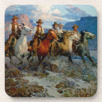 "Frank T Johnson Western Art ""Riders of the Dawn"" Drink Coaster"
