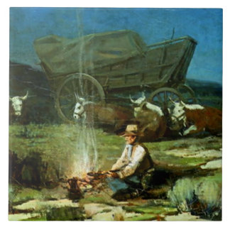 "Frank Tenney Johnson Western Art ""Lonely Night"" Tile"