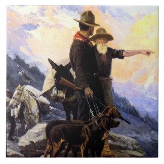 """Frank Tenney Johnson Western Art """"Mountain Hunt"""" Tile"""