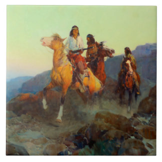 "Frank Tenney Johnson Western Art ""Renegade Apache"" Ceramic Tile"
