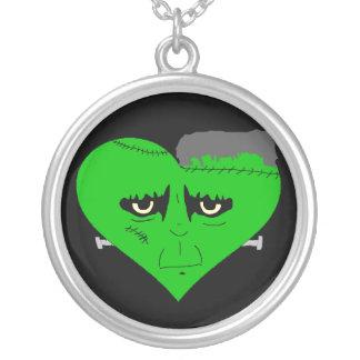 Franken Heart Face Round Pendant Necklace