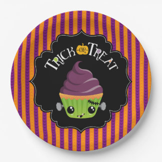Frankencake Trick-Or-Treat Halloween Plates 9 Inch Paper Plate