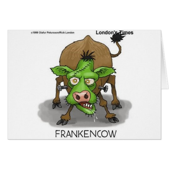 """""""FrankenCow"""" Funny Halloween Gifts & Collectibles Card"""
