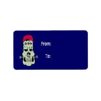 Frankenskull Gift Tag Label