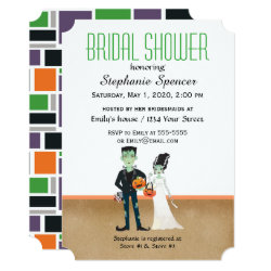 Frankenstein and Bride Halloween Bridal Shower Invitation