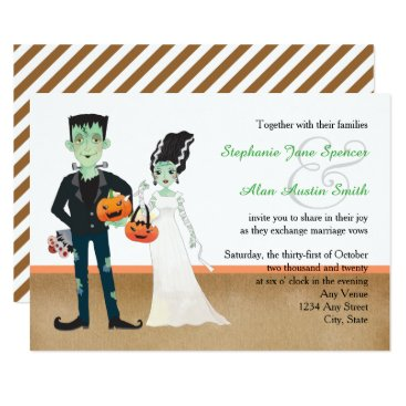 Halloween Themed Frankenstein and Bride Halloween Wedding Card