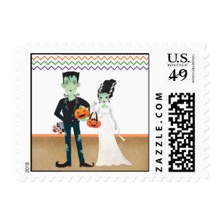 Frankenstein and Bride Halloween Wedding Postage