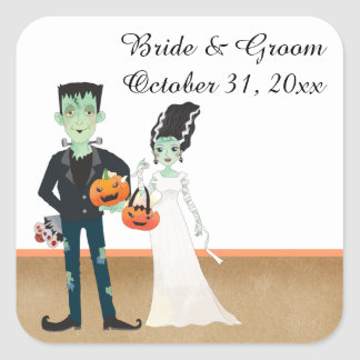 Frankenstein and Bride Halloween Wedding Square Sticker