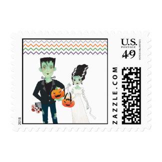 Frankenstein and Bride Halloween Wedding Stamp