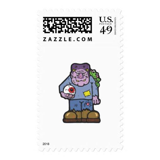 frankenstein and frog  stamp