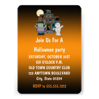 Frankenstein and Mummy Halloween Invitations