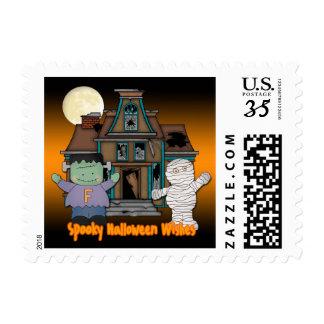 Frankenstein and Mummy Halloween Postage Stamps