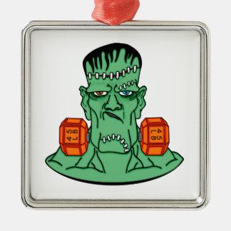 Frankenstein bajo pesos adorno navideño cuadrado de metal