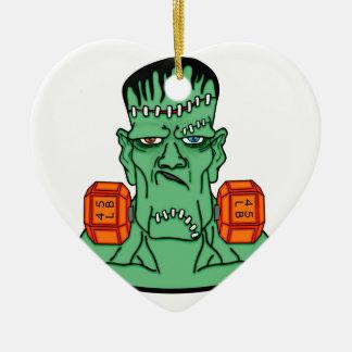 Frankenstein bajo pesos adorno navideño de cerámica en forma de corazón