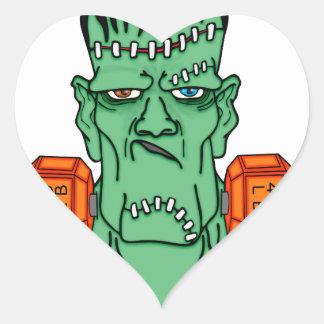 Frankenstein bajo pesos pegatina en forma de corazón