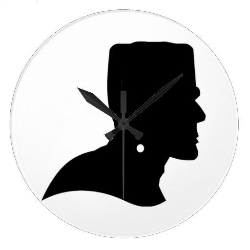 Frankenstein Profile Silhouette Frankenstein black silhouette clock    Frankenstein Head Silhouette