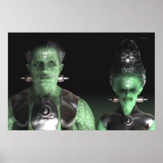Frankenstein & Bride - Halloween Poster