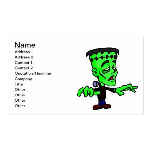 Frankenstein Double-Sided Standard Business Cards (Pack Of 100)