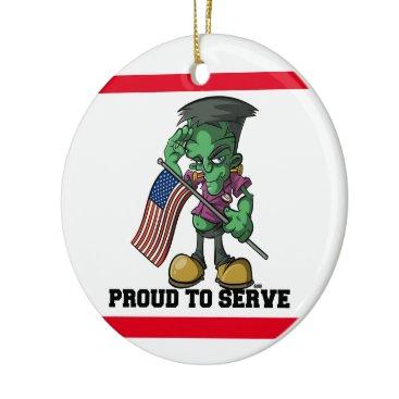 Frankenstein Cartoon Frank Proud To Serve Military Ceramic Ornament