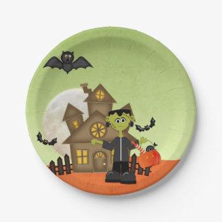 Frankenstein, casa encantada, Halloween Plato De Papel De 7 Pulgadas