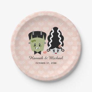 Frankenstein Couples Wedding Paper Plate