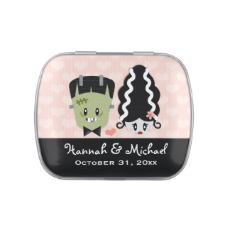 Frankenstein Couples Wedding Shower Favor Jelly Belly Candy Tins