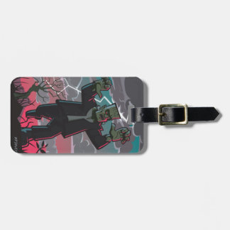 frankenstein creature in storm luggage tag