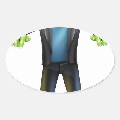 Frankenstein del dibujo animado de Halloween Pegatinas Oval Personalizadas