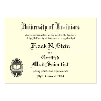 Frankenstein diploma business card business card template