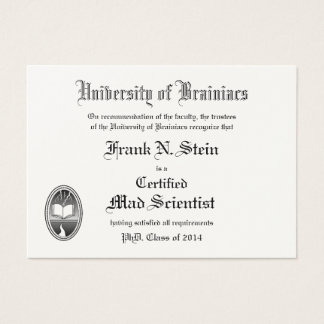 Frankenstein diploma business card