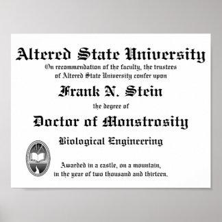 Frankenstein Diploma poster Print
