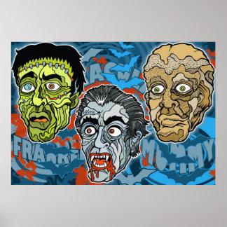 Frankenstein Drácula la momia Póster