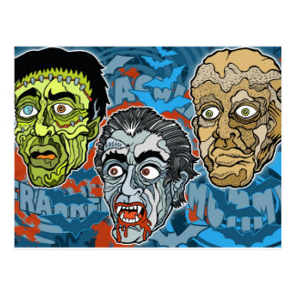 Frankenstein Dracula The Mummy Postcard