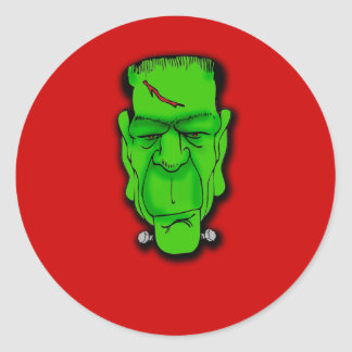 Frankenstein Face Caption it Yourself!  T shirts Classic Round Sticker