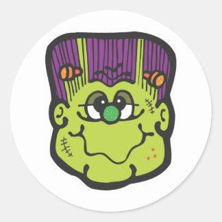 frankenstein face cartoon classic round sticker