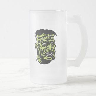 frankenstein frosted glass beer mug