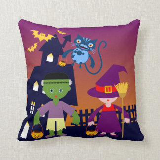 Frankenstein goes out on Halloween Night Throw Pillow