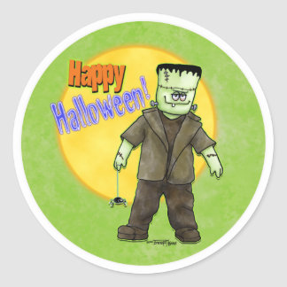 Frankenstein Halloween Classic Round Sticker