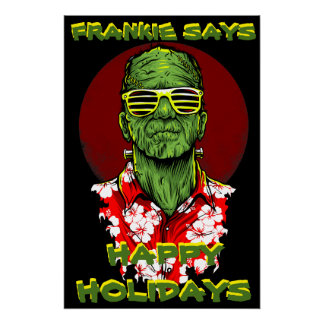 frankenstein halloween holiday funny poster
