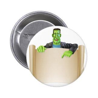 Frankenstein Halloween Sign Scroll Pins