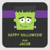 Frankenstein Halloween Sticker, Kids Halloween Square Sticker