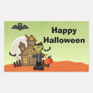 Frankenstein, Haunted House, Halloween Rectangular Sticker