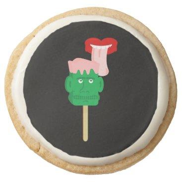 Halloween Themed Frankenstein Ice Block Tongue Round Shortbread Cookie