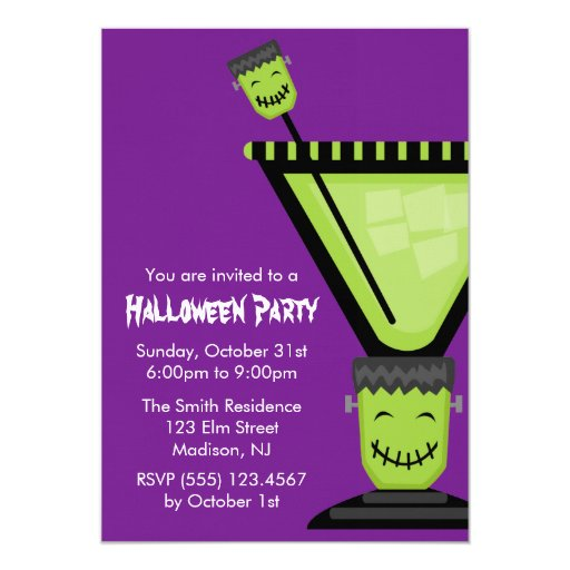 Frankenstein Martini Glass Halloween 5x7 Paper Invitation Card