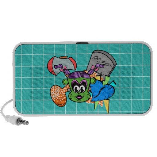 Frankenstein monkey girl in green on blue tile portable speaker