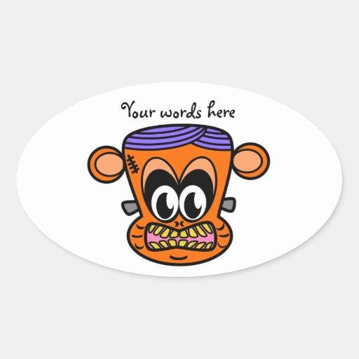 Frankenstein monkey in orange oval stickers