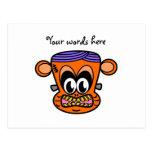 Frankenstein monkey in orange post cards