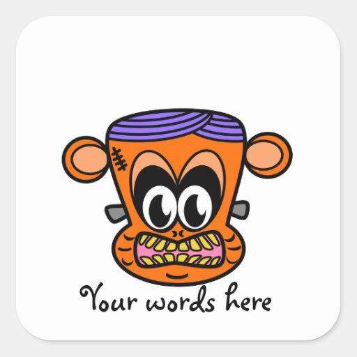 Frankenstein monkey in orange sticker