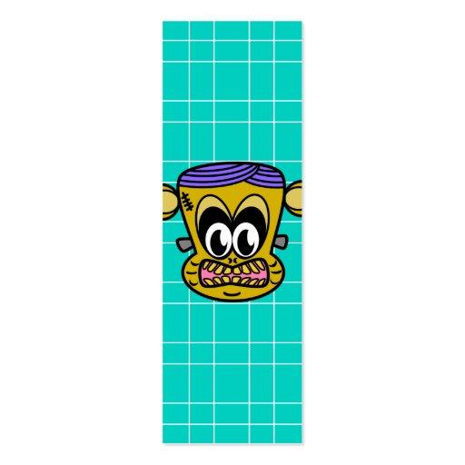 Frankenstein monkey on blue tile background business card templates